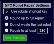 NPC Robots Repair Settings
